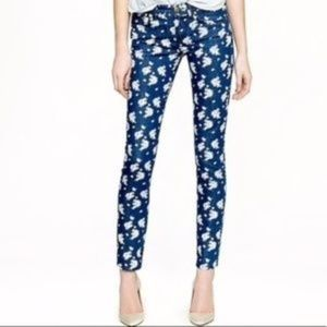 J Crew cropped Matchstick Indigo Floral Jeans 27